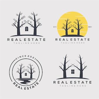 Immobilienunternehmen minimalistische vintage-logo-sammlung-vektor-illustration-design. haus, baum, haus, hütte, lodge-bundle-logo-konzept
