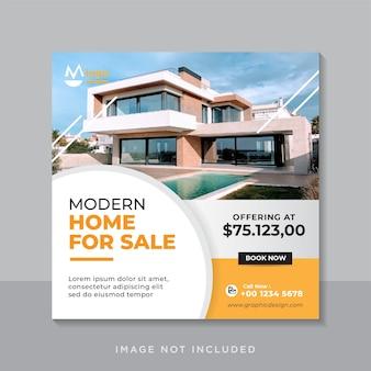 Immobilienverkauf social media banner oder quadratische flyer vorlage
