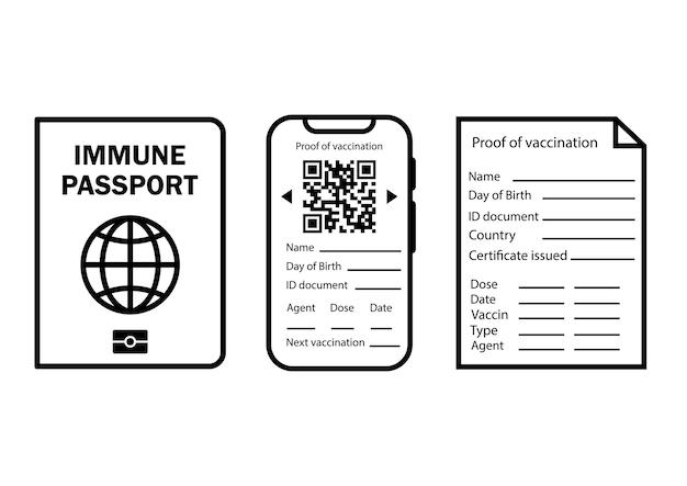 Immuner reisepass. digitales und papierdokument für sicheres reisen oder einkaufen. überprüfung der immunisierung gegen krankheiten und das konzept der einführung eines impfpasses oder einer immunität. vektor