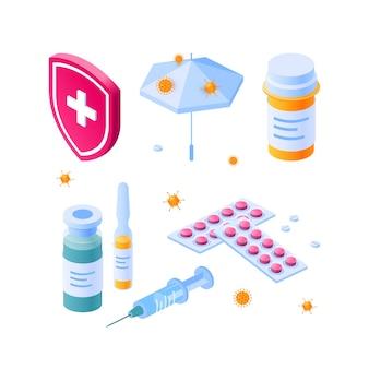 Immunitätssymbole für medizinische designs in isometrischer ansicht
