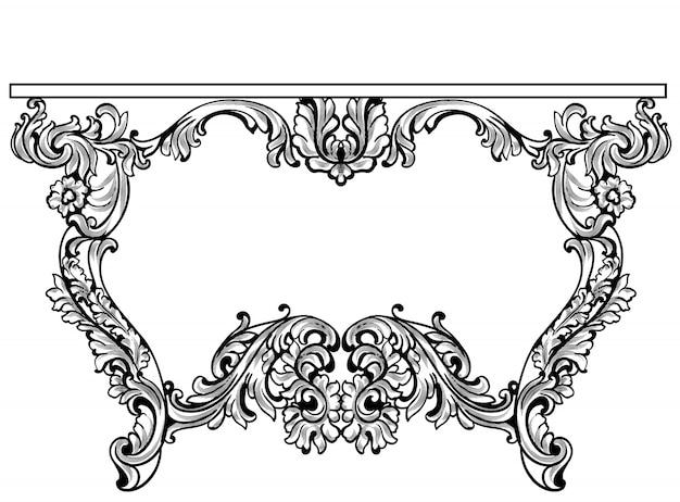 Imperial Barock Konsolentisch. Französisch Luxus Geschnitzte Ornamente  Dekoriert Tischmöbel. Vektor Viktorianischen Königlichen Stile