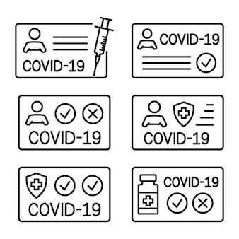 Impfausweis gegen covid-19. reisepass für reisen in der zeitpandemie. krankenakte. bearbeitbarer strich. dokument zum nachweis, dass eine person mit dem covid-19-impfstoff geimpft wurde. vektor