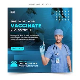 Impfbanner für social media post oder flyer vorlage mit blauem farbschema