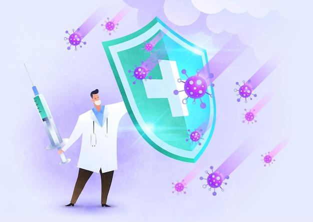Impfkampf-virus-konzeptillustration mit dem arzt, der den schild gegen das virus erhöht und mit dem impfstoff zurückschlägt