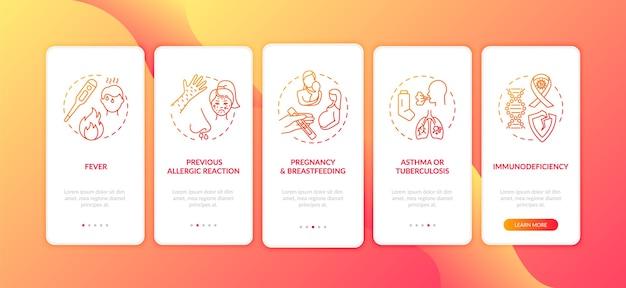 Impfkontraindikationen und vorsichtsmaßnahmen auf dem bildschirm der mobilen app-seite mit konzepten