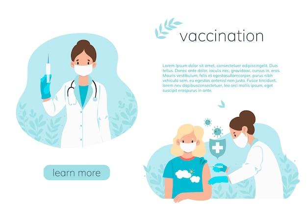 Impfkonzept banner mit einem arzt, der ein mädchen impft