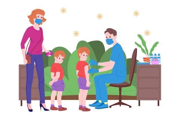 Impfkonzept für die gesundheit der immunität. impfstoff gegen covid-19. ärzte machen kindern eine injektion eines antivirus-impfstoffs und laden als nächstes ein. kindergesundheit, coronavirus, prävention und immunisierung