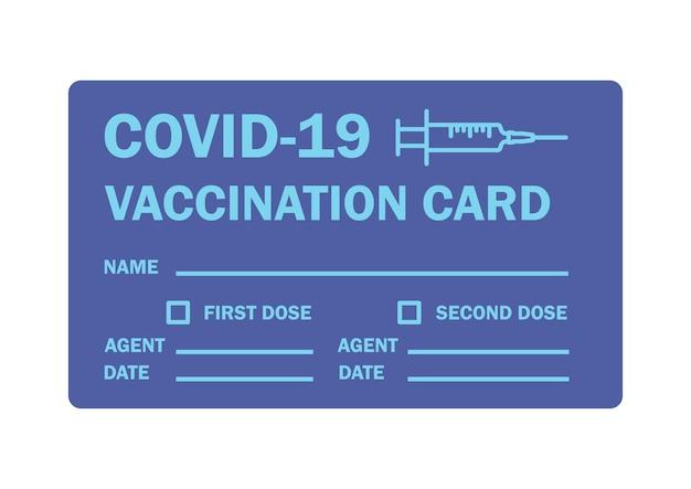 Impfpass. impfbescheinigung oder -karte gegen covid-19. dokument zum nachweis, dass eine person mit dem covid-19-impfstoff geimpft wurde. blaue farbabbildung des vektors