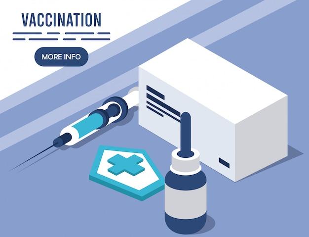 Impfservice mit isometrischen injektionssymbolen
