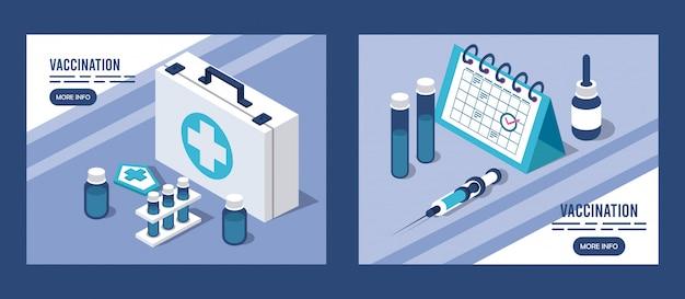 Impfservice mit medizinischer ausrüstung und kalender