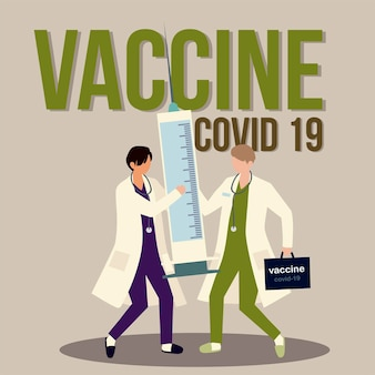 Impfstoff ärzte zeichen mit spritze und kit impfung illustration