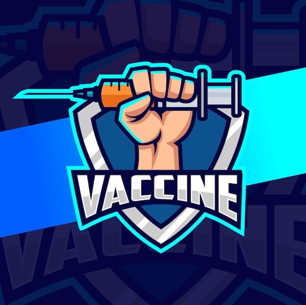 Impfstoff corona virus krankheit logo esport design