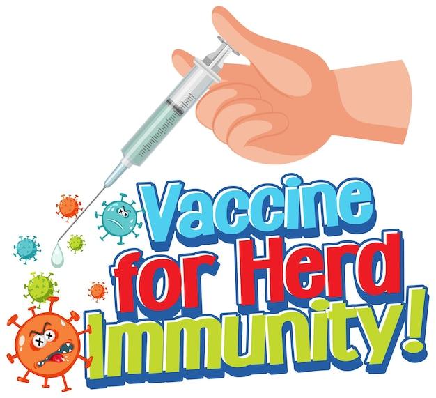 Impfstoff gegen herdenimmunität schriftart mit hand, die eine spritze hält
