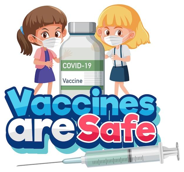 Impfstoff ist eine sichere schriftart mit kindern, die eine covid-19-impfstoffflasche halten
