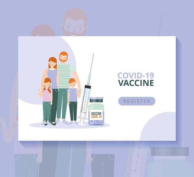 Impfstoff-kovid-19-vorlage mit familie und spritze. vektor-illustration