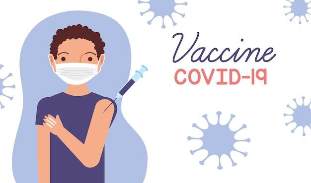Impfstoff-kovid-19-vorlage mit mannkarikatur. vektor-illustration