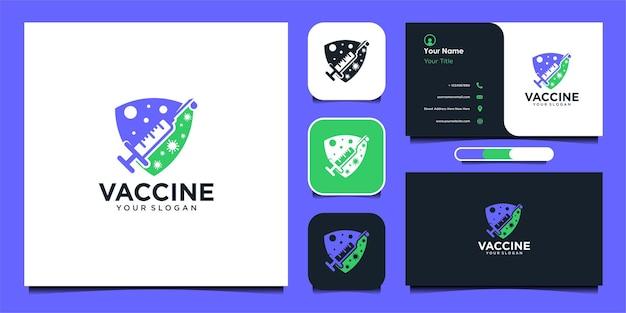 Impfstoff-logo-design mit spritze und visitenkarte