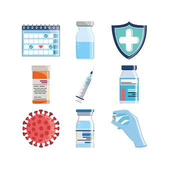 Impfstoff-medizin-set