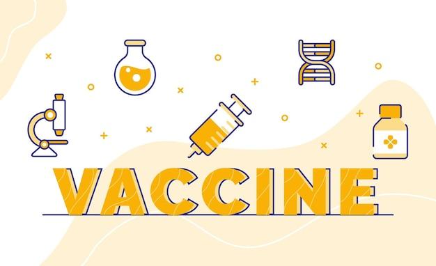 Impfstoff-typografie-kalligraphie-wortkunst mit umrissstil