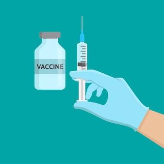 Impfstoffflasche und handhaltespritze, flache designillustration der injektion
