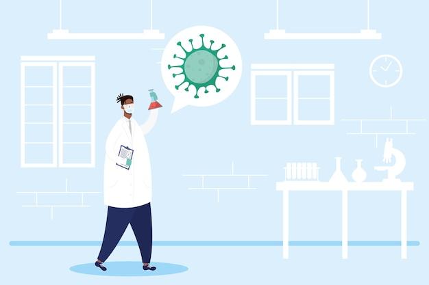 Impfstoffforschung mit afro-männlichem doktorcharakter-vektorillustrationsdesign