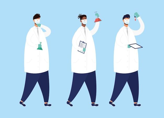 Impfstoffforschung mit vektorillustrationsdesign des männlichen arztstabes