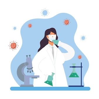 Impfstoffforschung mit weiblichem doktorcharakter-vektorillustrationsdesign