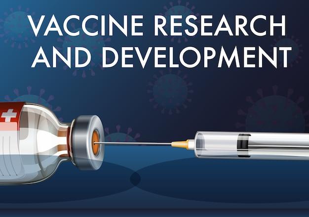 Impfstoffforschung und -entwicklung für covid-19 oder coronavirus mit medizinischer spritze mit nadel