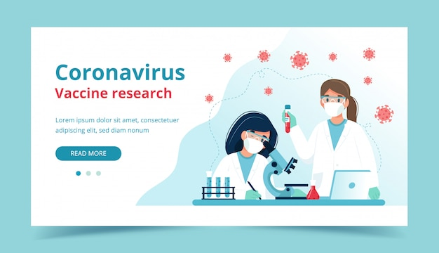 Impfstoffforschung, wissenschaftler, die experimente im labor durchführen. landingpage-vorlage.