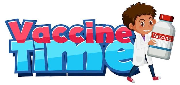 Impfstoffzeitschrift mit einem arzt, der eine covid-19-impfstoffflasche hält