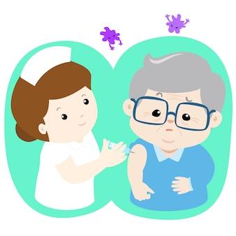 Impfung ältere cartoon-vektor-illustration. krankenschwester, die dem älteren vektor impfungseinspritzung gibt.