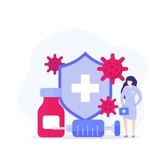 Impfung, antiviraler impfstoff und medizinische illustration