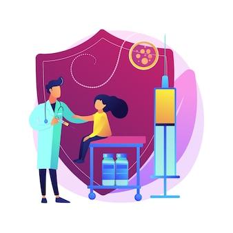 Impfung der abstrakten konzeptillustration von jugendlichen und jugendlichen. die impfung älterer kinder, die impfung von teenagern und jugendlichen verhindert, dass kinder ansteckende krankheiten haben.
