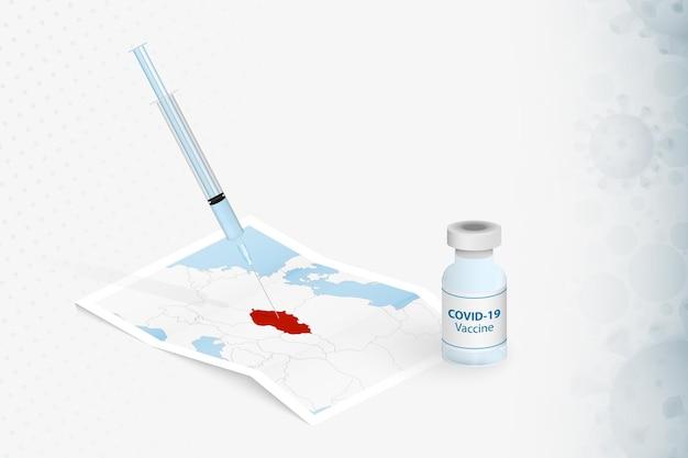 Impfung der tschechischen republik, injektion mit covid-19-impfstoff in der karte der tschechischen republik.