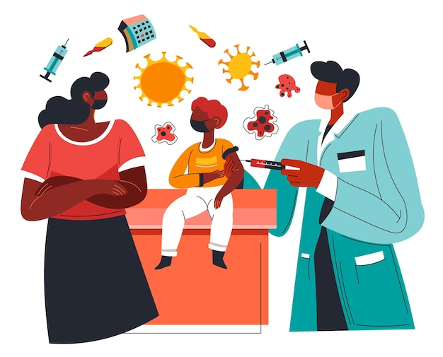 Impfung kranker patienten und gesundheitsdienst. laborant oder arzt, der frau mit sohn schoss. menschen, die sich einer behandlung unterziehen, injektionen gegen covid. vektor im flachen stil