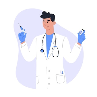 Impfung und injektion, männlicher arzt im medizinischen gewand mit impfstoff