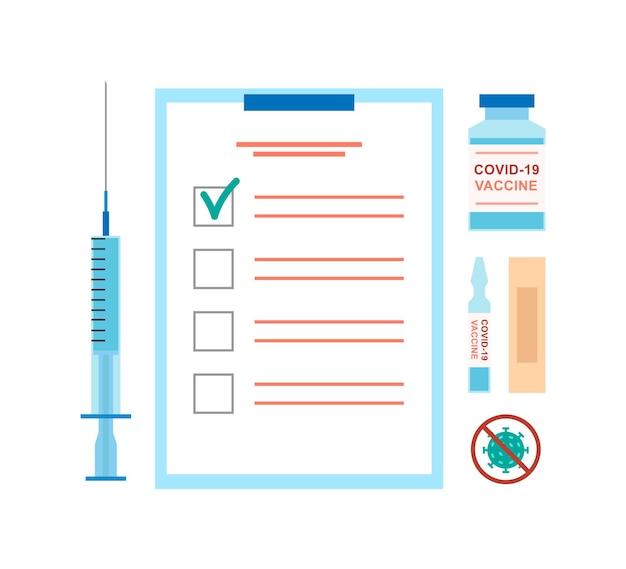 Impfvektorelemente spritze mit flüssigglasflaschen-patch und stop-covid-schild