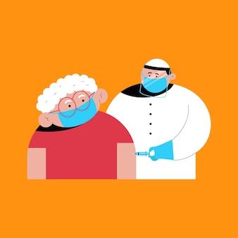 Impfvektorkarikatur-konzeptillustration mit doktor- und alten damecharakteren.
