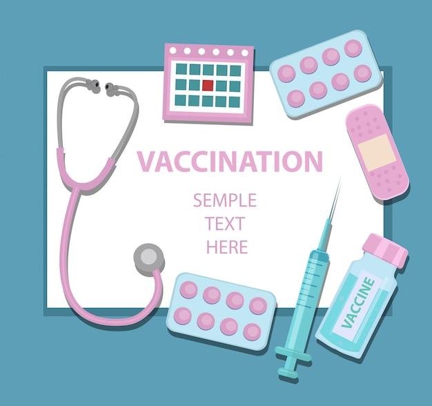 Impfvirus und krankheitsschutzvorlage für sie mit stethoskop, spritze, impfstoff, pillen. medizinkonzeptikonenstil. illustration
