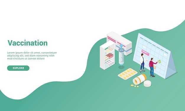 Impfzeit isometrisch für website-vorlage oder landing-homepage-banner