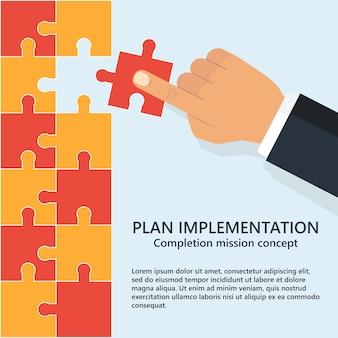 Implementierung des einkaufsplans. die menschliche hand fügt das fehlende puzzle ein. konzept der teamarbeit.
