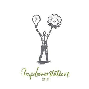 Implementierungsabbildung in hand gezeichnet