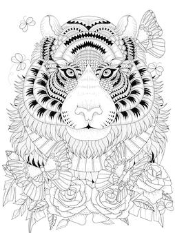 Imposanter tiger mit blumenelement erwachsenen malvorlagen