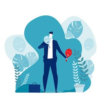 Imposter-syndrom, geschäftsmann, der karnevalsmasken mit fröhlichen oder traurigen ausdrücken anprobiert. illustration für psychologie, stimmungsschwankungen, persönlichkeitskonzept.