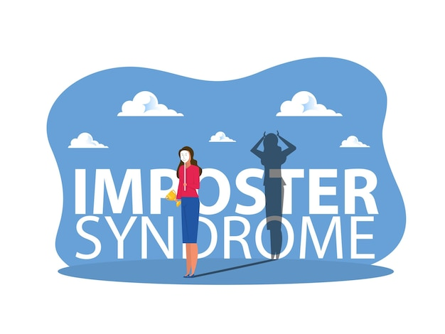 Imposter-syndrom, mädchen, die karnevalsmasken mit fröhlichen oder traurigen ausdrücken anprobieren.