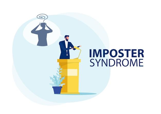 Imposter-syndrom. mann, der für ihr gegenwärtiges profil mit angstschatten dahinter steht.