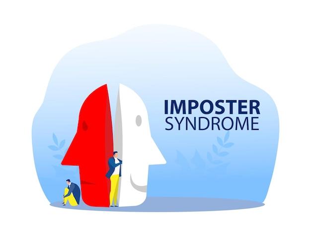 Imposter-syndrom, mann, der karnevalsmasken mit glücklichen oder traurigen ausdrücken anprobiert.