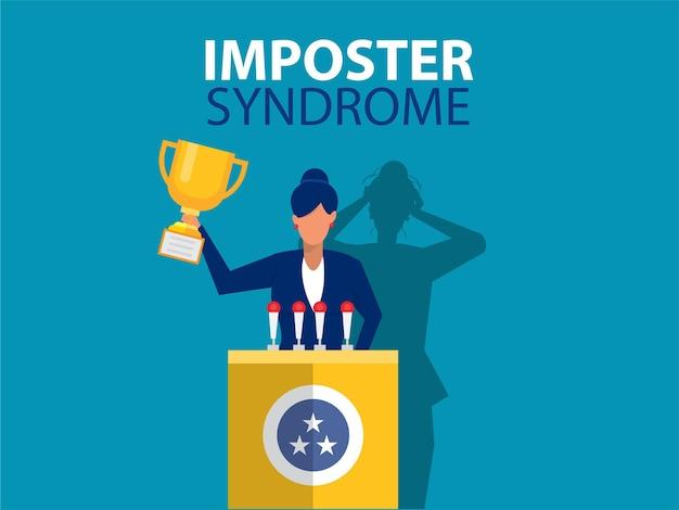Imposter-syndromfrau, die für ihr gegenwärtiges profil mit angstschatten steht