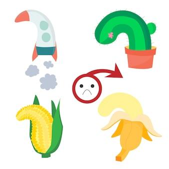 Impotenz lethargische früchte schlechte erektion lager vektor-illustration isoliert auf weißem hintergrund