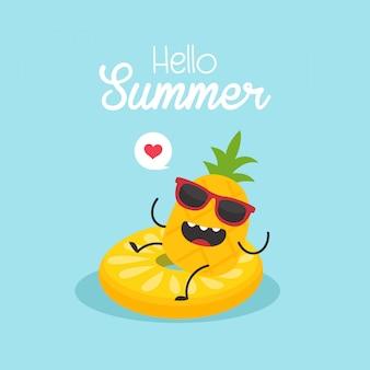 In den sommerferien aufblasbare zitrone mit einer ananaskarte